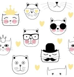 Cute Handdrawn Cat Seamless Pattern vector image