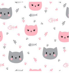 Cute seamless pattern with hand drawn cats vector