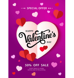 design flyer happy valentine s day 50 off sale vector image