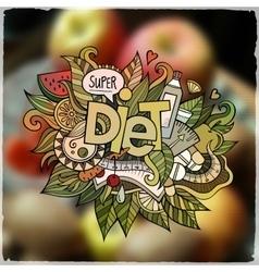 Diet hand lettering and doodles elements emblem vector