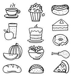 Doodle of food kitchen cake fruit vector