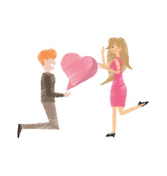 drawing couple romantic proposal heart vector image