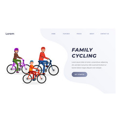 family riding on bicycle in park landing page vector image