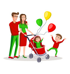 family with a boy and bacarriage colored vector image