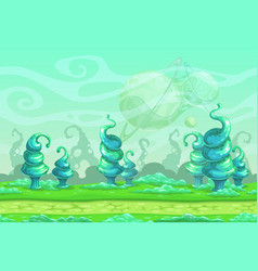 Fantasy seamless landscape with big blue strange vector