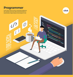 Flat design concept programmer coding program vector