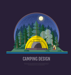 flat style design forest landscape and camping vector image
