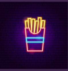 fried potato neon sign vector image