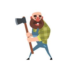 funny bald lumberjack posing with his axe cartoon vector image