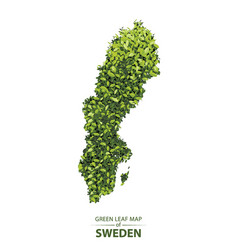Green leaf map sweden vector