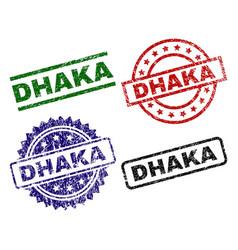 Grunge textured dhaka stamp seals vector
