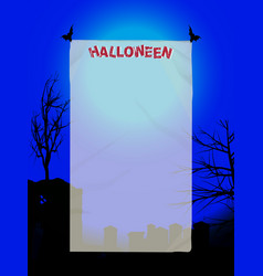 Halloween copy space poster on blue background vector