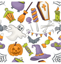 Halloween seamless pattern design for wrapping vector