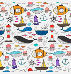 Hand drawn pattern with sea background vector