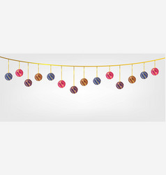 Hanging chirstmas balls in white background vector