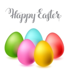 Happy Easter greeting card with eggs Concept can vector image