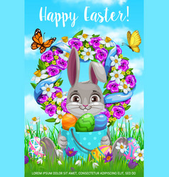 happy easter holiday cartoon poster bunny vector image