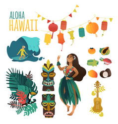 hawaiian culture traditional symbols in flat vector image