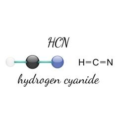 HCN hydrogen cyanide molecule vector image