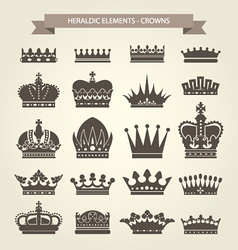Heraldic crowns set - monarchy coronet vector image