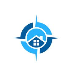 house home residence compass logo icon concept vector image