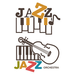 Jazz music isolated icons piano and violin vector