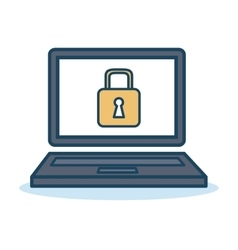 laptop padlock safety data design isolated vector image