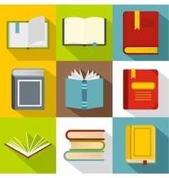 Library icons set flat style vector