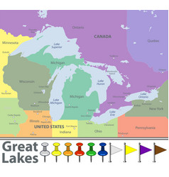 Map great lakes vector