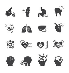 Medical icon set pain and symptom vector