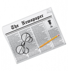newspaper glasses and pencil vector image