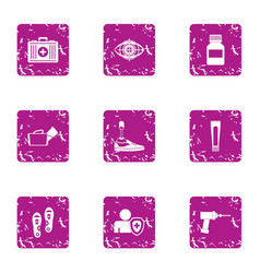 Online med icons set grunge style vector