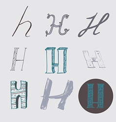 Original letters H set isolated on light gray vector