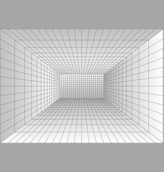 perspective grid room wireframe abstract cube vector image