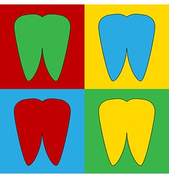 Pop art tooth icons vector