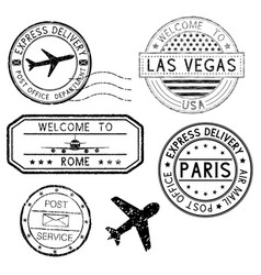 Postmarks and travel stamps plane symbol vector