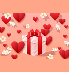 Pretty gift box making with love vector