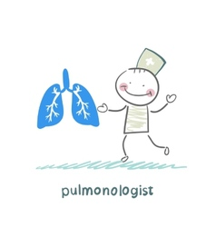 pulmonologist is standing next to a persons lungs vector image