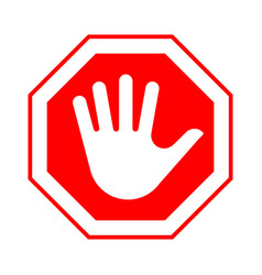 Red octagonal stop sign with hand vector