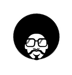 retro disco man 70s hairstyle black silhouette vector image