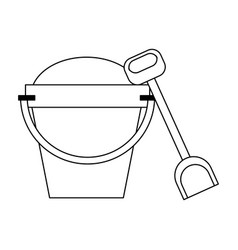 sand bucket and shovel black and white vector image