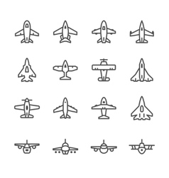Set line icons of plane vector image