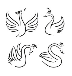 set of decorative birds swan silhouette vector image