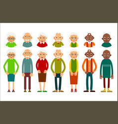 Set of diverse elderly people with avatars vector