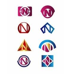 Set of letter N logo Branding Identity Corporate vector image