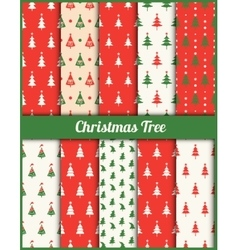 set of patterns with Christmas trees vector image