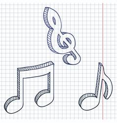 Set sketch symbols musical notes vector