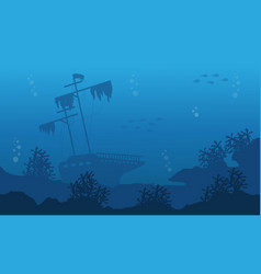 Silhouette of underwater with ship and fish vector