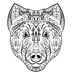 Sketch black and white dog head zen-tangle vector