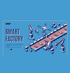 smart factory automation isometric web banner vector image